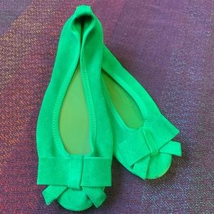 Seychelles Green Suede Bow Flats